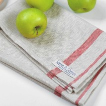 Linen Towel-Natural & Red
