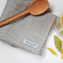 Linen Tea Towel, Natural & White