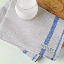 Tea Towel- Natural & Blue