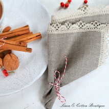 Crochet Edged Natural Napkin, 100% Linen