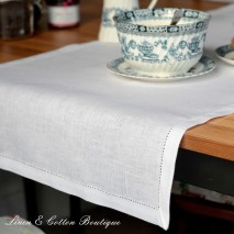White Hemstitched Table Runner, 100% Linen