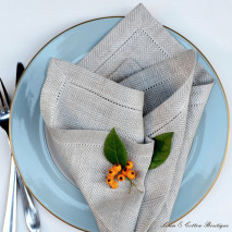 LUXURY HEMSTITCHED HERRINGBONE NATURAL NAPKIN
