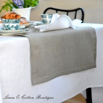 Hemstitched Table Runner, 100% Linen