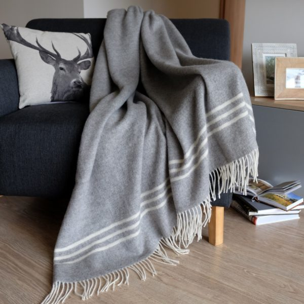 Luxury Extra Soft Sofa Bed Throw / Blanket BROOKLYN- 100% FINE MERINO WOOL (Gray)