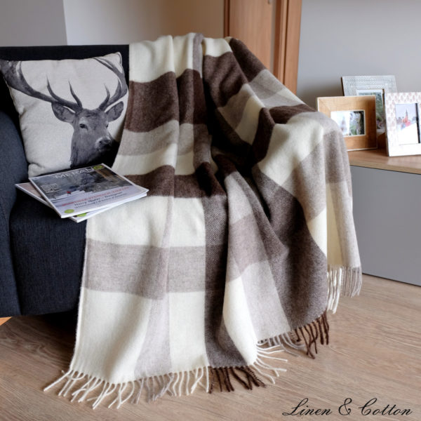 Luxury Extra Soft Sofa Bed Throw / Blanket DEVON- 100% NEW ZEALAND WOOL (Brown)