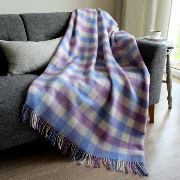 Luxury Soft Sofa Bed Throw / Blanket SPRING - 100% NEW ZEALAND WOOL (130 x170cm (52'' x 68''), Blue/White)