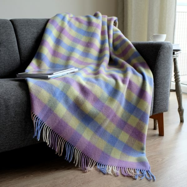Luxury Soft Sofa Bed Throw / Blanket SPRING - 100% NEW ZEALAND WOOL (130 x170cm (52'' x 68''), Blue/Yellow)