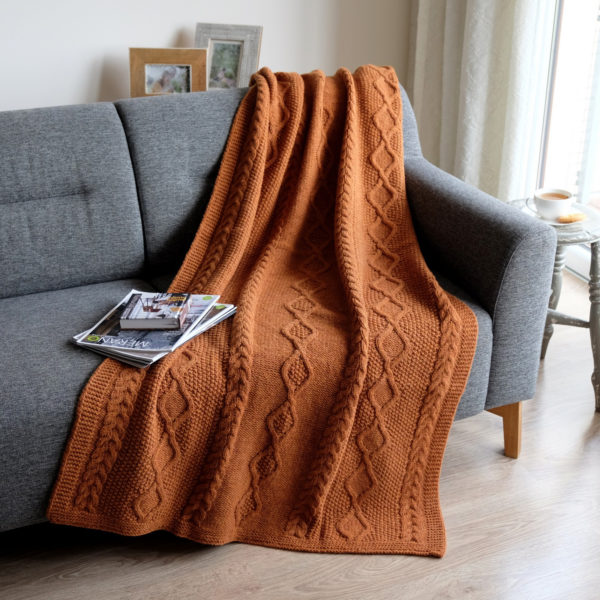 Linen & Cotton Luxury and Stylish Rough Wool Knitted Sofa Bed Throw / Blanket FRANCESCA- 100% New Zealand Wool - 110 x 190cm (44'' x 76''), Copper
