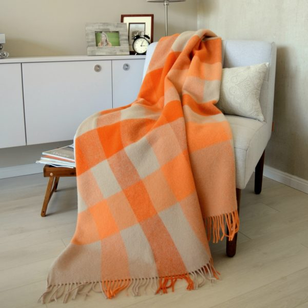 Luxury Extra Soft Sofa Bed Throw / Blanket DEVON- 100% NEW ZEALAND WOOL (Orange)