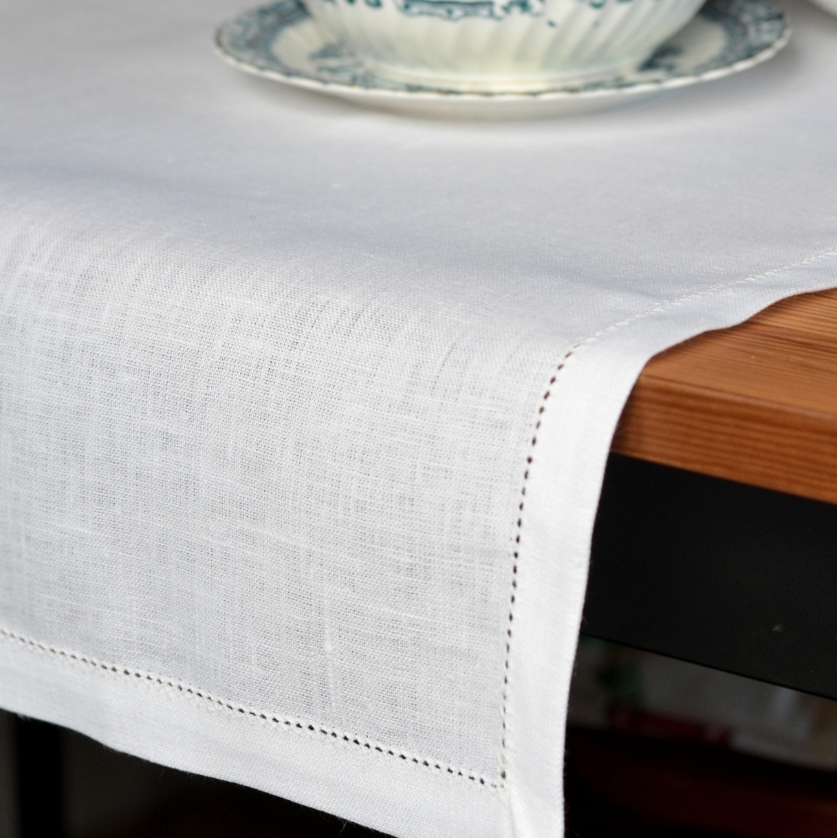 White Linen Hemstitched Table Runner Linen Amp Cotton